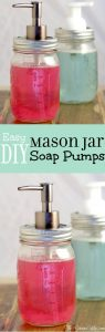 Easy DIY Mason Jar Soap Pump - an easy DIY craft using mason jars. Perfect for your kitchen or bathroom!  I have one in both!