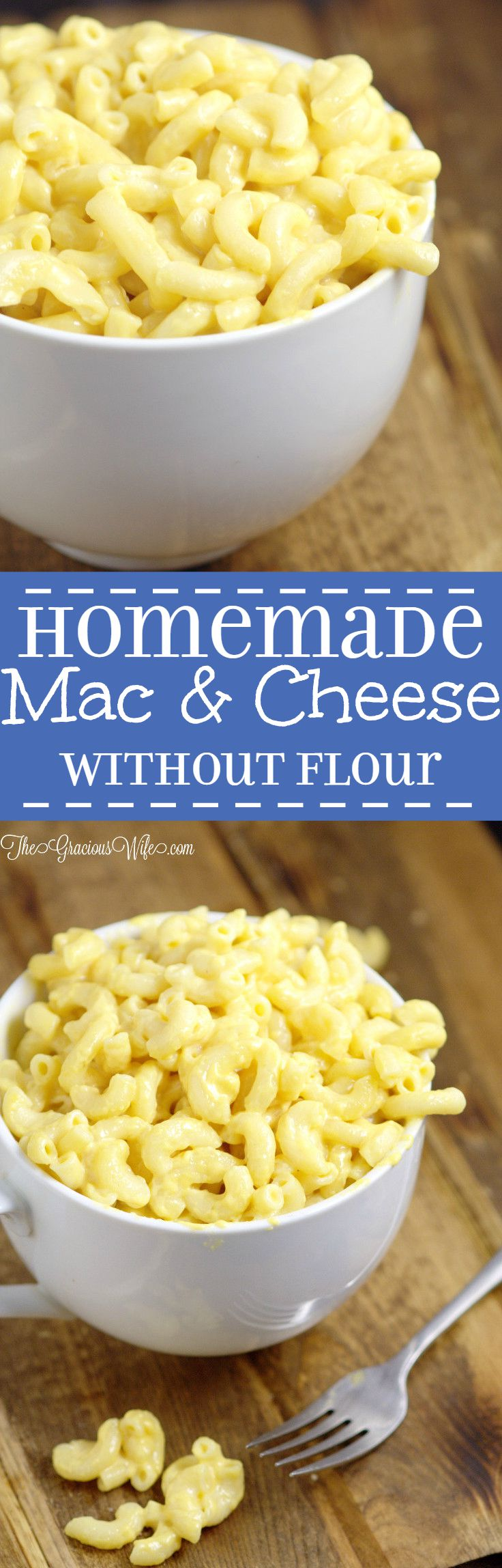 """Mac and Cheese without Flour! - An easy, creamy mac and cheese recipe that makes a great side dish recipe or dinner recipe idea, made without flour or """"cheese product""""! Just homemade macaroni with milk, butter, and REAL cheese"""