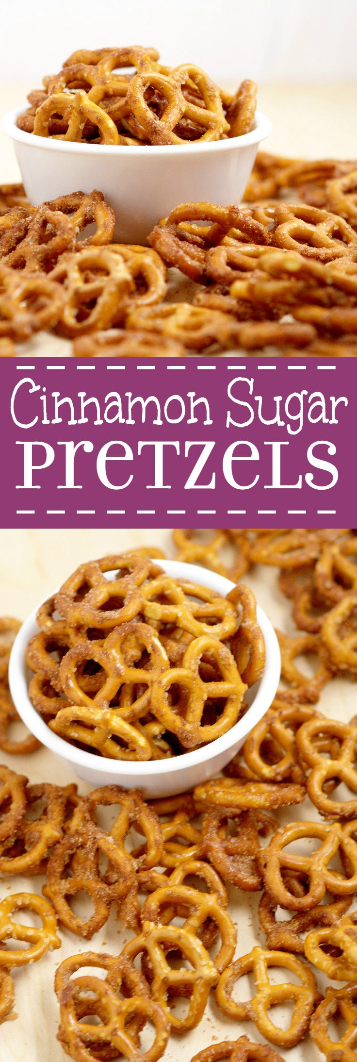 Cinnamon Sugar Pretzels Recipe- salty pretzels baked in butter, cinnamon, and sugar. A super yummy appetizer and snack recipe, great for a party, the holidays, or just because! The perfect combination of sweet and salty!
