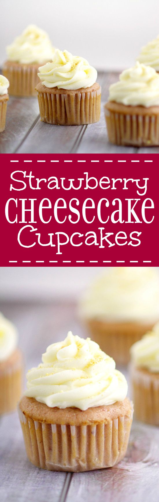 Strawberry Cheesecake Cupcakes have a moist Strawberry cupcakes recipe with cream cheese frosting and graham cracker crumb sprinkles. Fun idea for a birthday! Love that the cupcakes are made from REAL strawberries!
