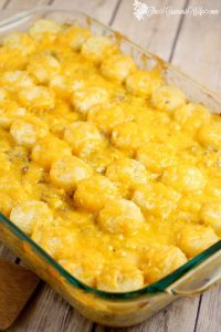 Cheesy Tater Tot Casserole is an easy family dinner recipe, complete with cheesy goodness and tater tots that your kids will love.