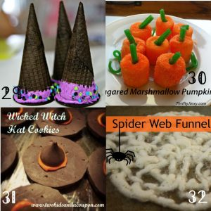 Halloween Sweets Recipes Ideas-  Tons of adorable Halloween food and treats  ideas.  There's a little bit of everything here: easy to intricate; kids and adult; indulgent or healthy.  Take your pick! I love the candy corn ones!