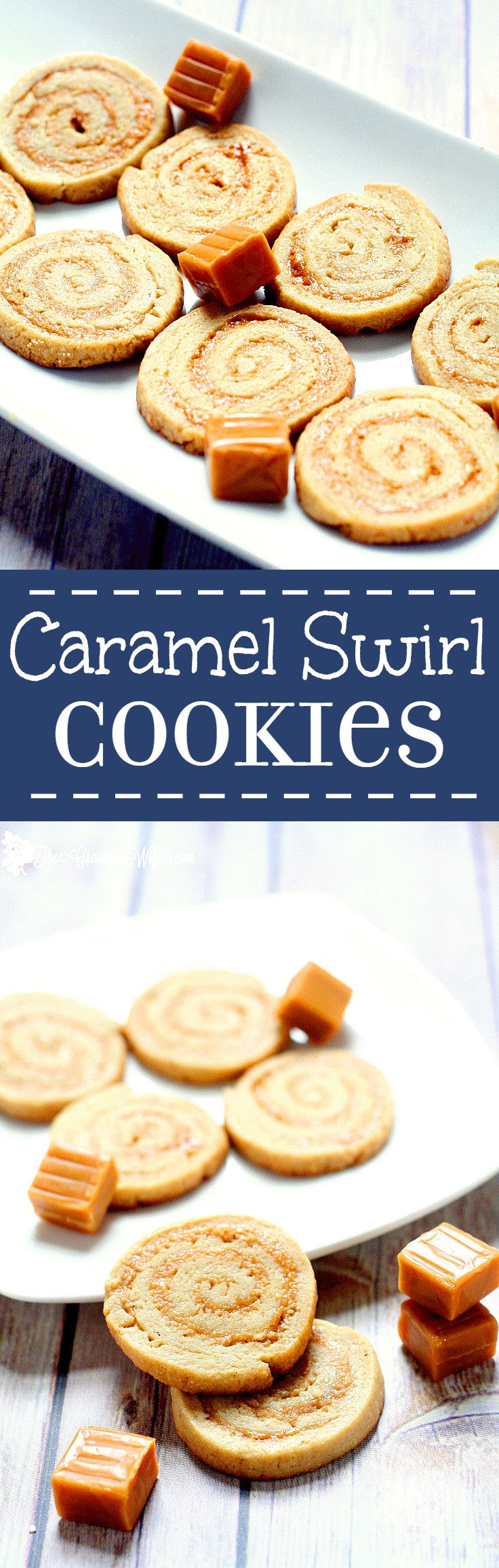 These Caramel Swirl Cookies are a wonderful combination of a soft, chewy cookie swirled with sweet, creamy caramel. Unique and delicious caramel swirl cookie recipe from scratch. Also would make a great Christmas Cookies recipe. THE BEST for caramel lovers everywhere.