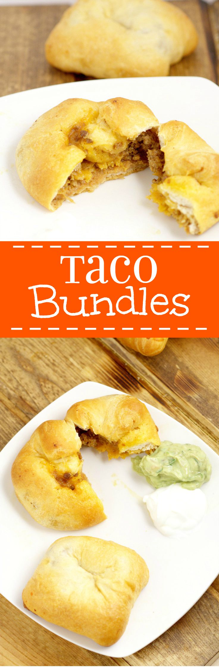 Taco Bundles Recipe - a delicious quick and easy family dinner recipe, using ground beef.  You can even use leftover taco meat.  Tacos on the go!  These are so easy and perfect for busy nights!