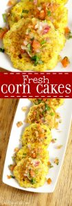 Fried Corn Cakes Recipe - Fried to perfection! What an easy vegetable summer side dish! I think it would be a great way to use up leftover corn on the cob too!