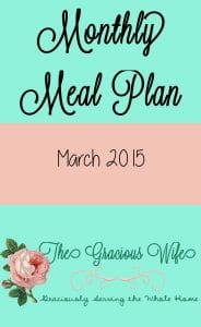 Monthly Meal Plan: March 2015