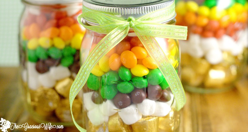 Rainbow in a Mason Jar is a fun St Patrick's Day treat, perfect for kids or a gift for teachers or friends. From TheGraciousWife.com #StPatricksDay #diy #rainbow
