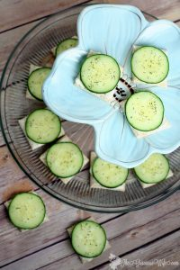 Cucumber Sandwiches Recipe- Perfect for a quick and easy snack or appetizer recipe. Creamy ranch spread and crisp, fresh cucumbers with dill on thin bread squares make a simple but delicious appetizer. These are my favorite!  I love these for a party or shower!
