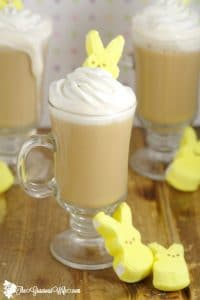 Homemade Marshmallow Coffee Creamer Recipe- A yummy, fun way to change up your morning coffee. It can be made in just 10 minutes, and is a great grown-up Easter treat.