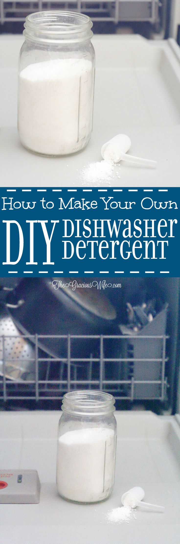 Homemade Dishwasher Detergent - an easy DIY cleaning product.  Super easy to make and works great! It's the only dish detergent I use!