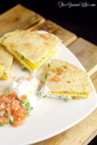 Breakfast Quesadillas Recipe - an easy and quick breakfast recipe with eggs, cheese, and bacon. So delicious and great for kids!