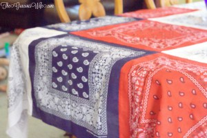 Easy DIY Bandana Tablecloth - An easy DIY sewing craft made from ordinary bandanas. The patriotic red white and blue are super cute for 4th of July and Summer!