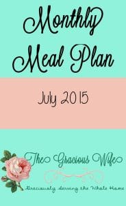 July 2015 Monthly Meal Plans