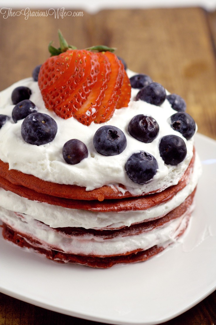 Red Velvet Pancakes with Berries