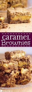 Caramel Brownies Recipe - an easy chocolate dessert recipe. Fudgy chocolate brownies stuff with gooey caramel. These are amazing!