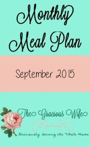 September 2015 Monthly Meal Plan