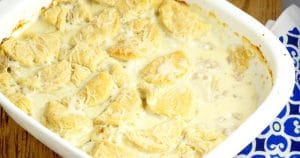 Biscuits and Gravy Casserole with homemade flaky and fluffy buttermilk biscuits smothered in rich and creamy sausage gravy for a classic family breakfast recipe or dinner recipe. Can't go wrong with a comfort food classic!