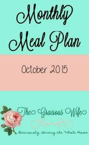 October 2015 Monthly Meal Plan