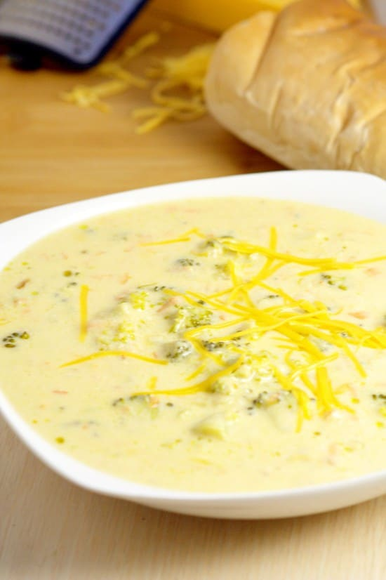Crockpot Broccoli Cheese Soup recipe will be an instant classic at your home.  A traditional soup recipe that the family will love. Serve with warm crusty bread.  Broccoli Cheese soup is seriously my favorite! Can't wait to try it in the slow cooker!