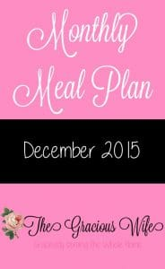 December 2015 Monthly Meal Plan