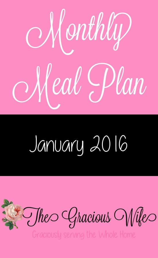 January 2016 Monthly Meal Plan