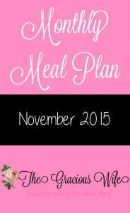 November 2015 Monthly Meal Plan