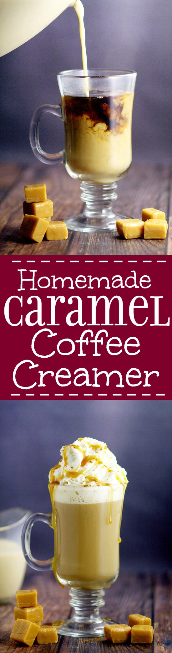 Smooth, creamy, and sweet Homemade Caramel Coffee Creamerrecipe in your hot morning coffee is the perfect way to start the day! Oh my! This is seriously amazing!