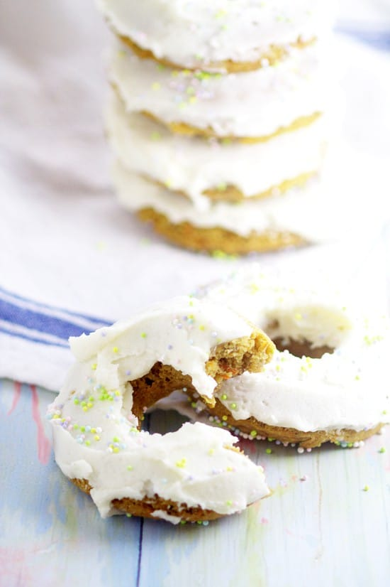 Baked Carrot Cake Donuts. Have all the flavors of your favorite dessert with these Baked Carrot Cake Donuts with cream cheese frosting for an easy and yummy Spring and Easter breakfast idea.