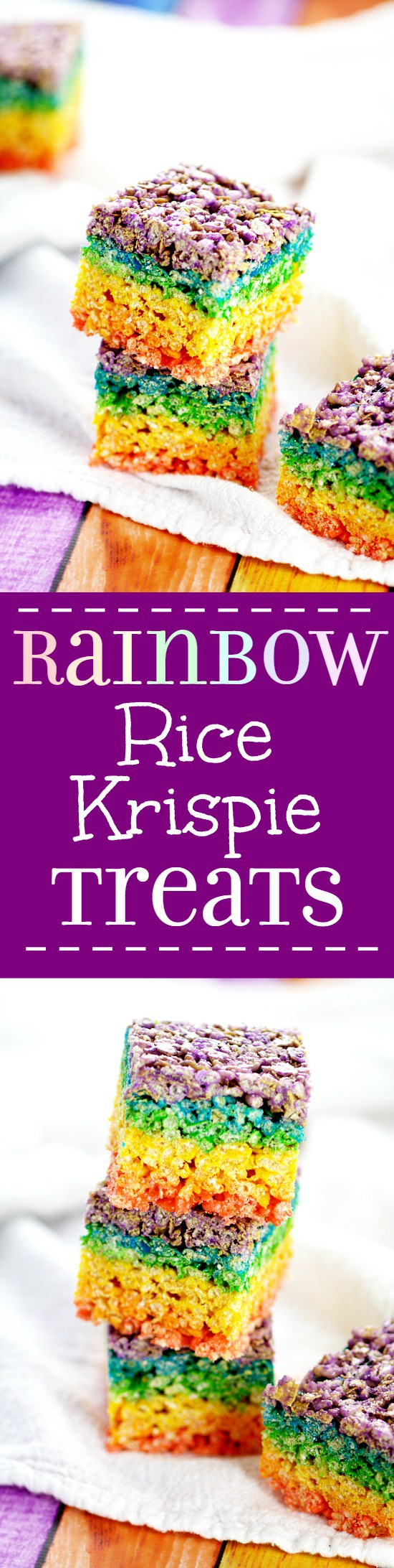 Rainbow Rice Krispie Treats recipe. Easy, no bake Rainbow Rice Krispie Treats make a pretty and festive treat for St Patrick's Day, or even just for fun, that everyone will love! What an adorable dessert recipe for St Patrick's Day or even a rainbow birthday party!