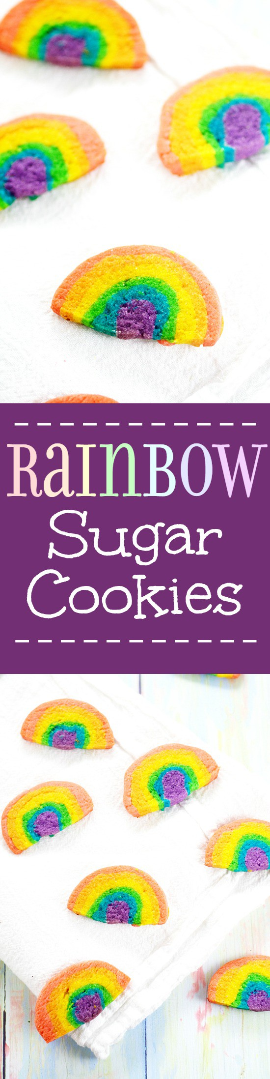Rainbow Sugar Cookies.Adorable slice-and-bake Rainbow Sugar Cookies that the kids will love. Fun to make AND eat, and perfect for parties and St Patrick's Day. Too cute!