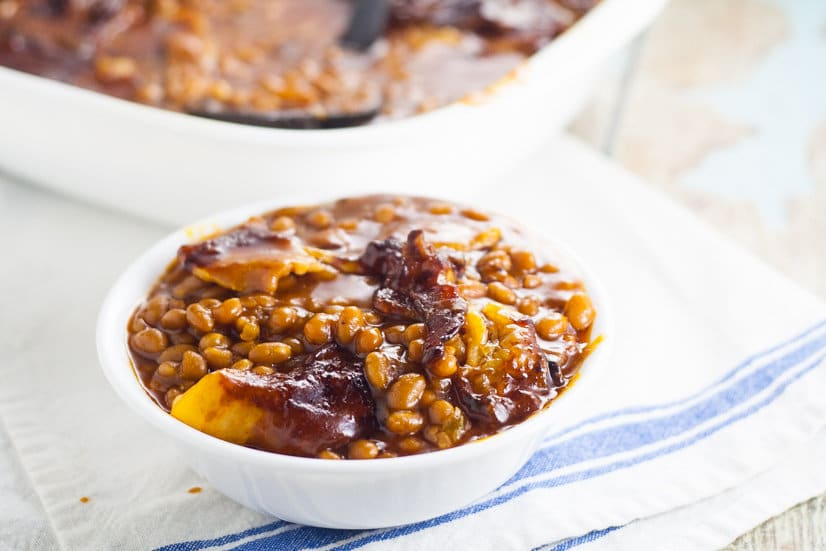 ... Bacon Baked Beans, slow baked with bacon are the perfect summer side