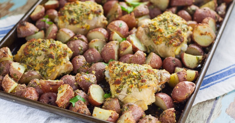 One Pan Garlic Chicken and Potatoes is a perfect easy family dinner recipe.  Easy, savory One Pan Garlic Roasted Chicken and Potatoes is a full meal, roasted in the oven all at once. So easy and equally delicious! Wow! This looks fabulous!