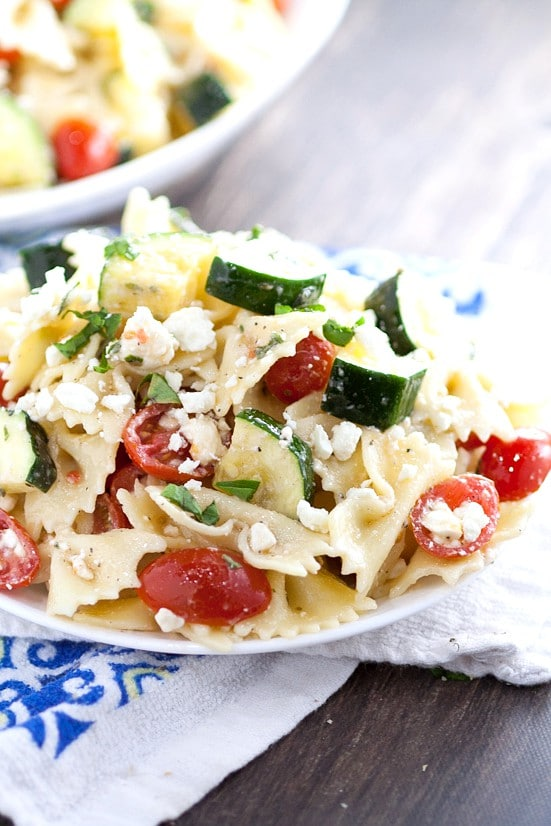 ... pasta salad with bowtie pasta, creamy feta and tomatoes and is sure to