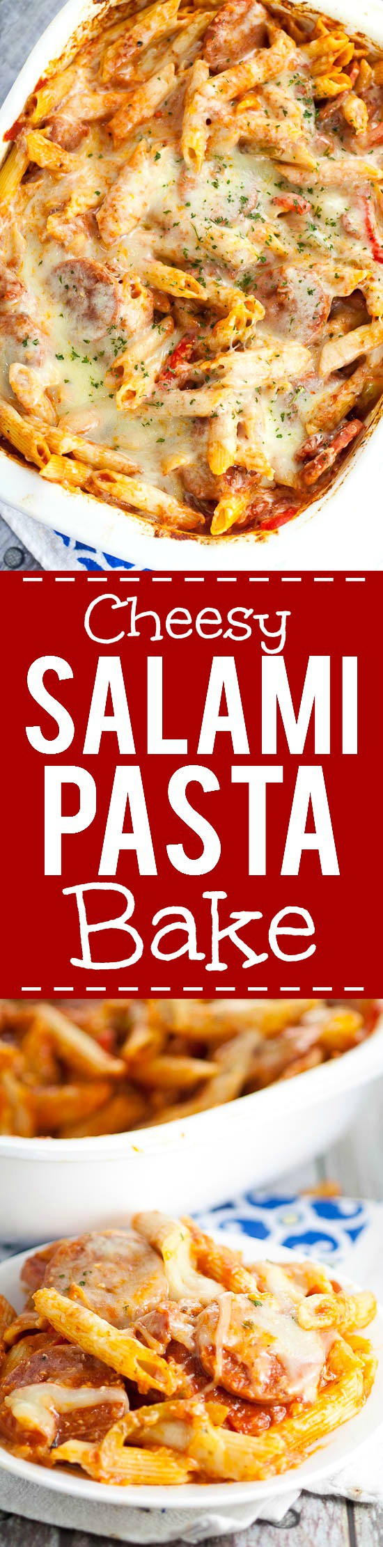 Cheesy Salami Pasta Bake recipe -Quick and easy Salami Pasta Bake recipe is a cheesy pasta and salami recipe that's perfect for a simple dinner that the whole family will love. Love this for a simple, quick and easy family dinner recipe!