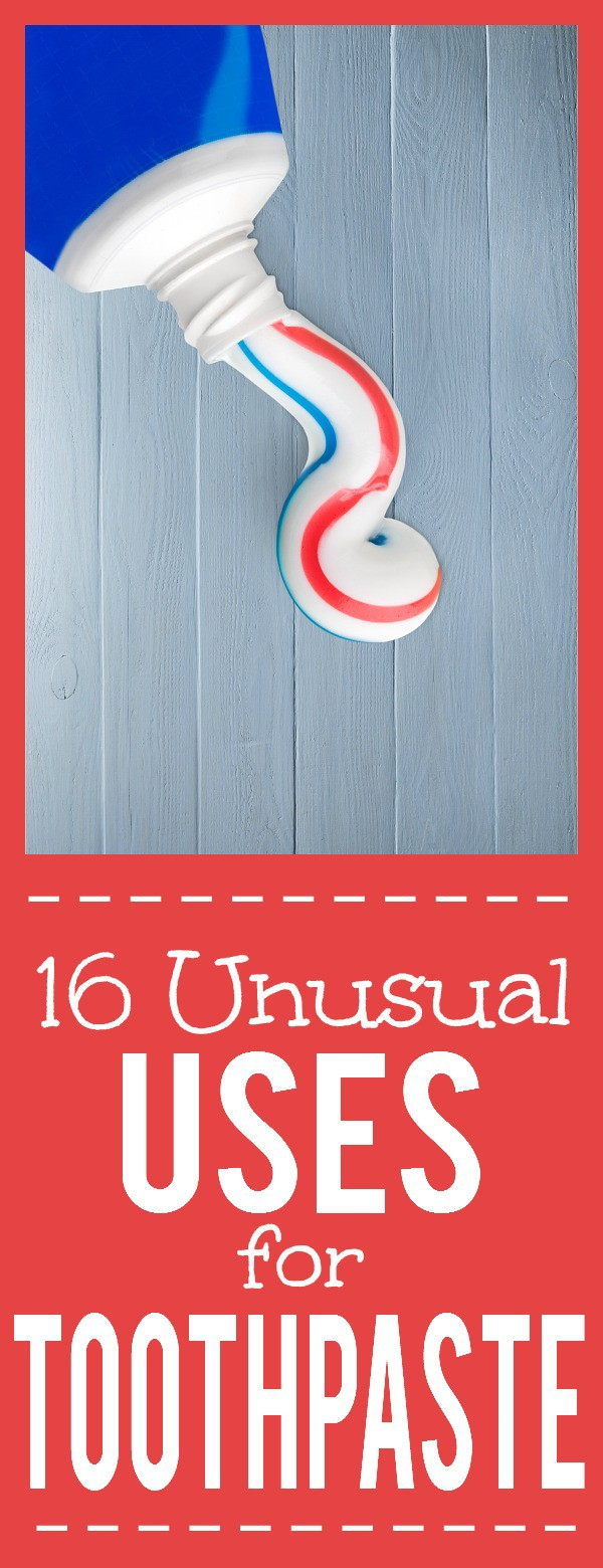 16 Unusual Uses for Toothpaste -Toothpaste isn't just for your mouth! Try these 16 amazing and unusual Uses for Toothpaste around your home to seehow useful and effective it really is! Cleaning tips and hacks, around the home, and even beauty fixes, toothpaste does it all!