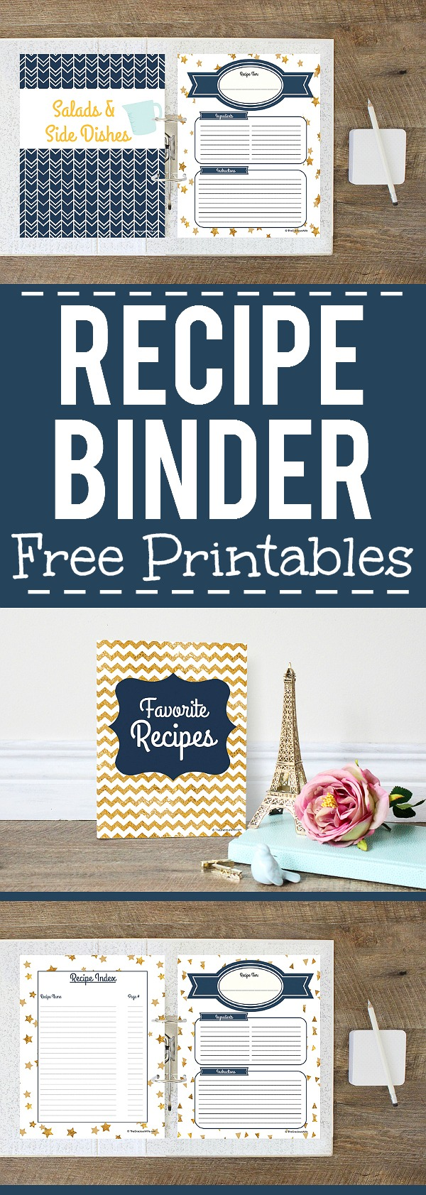 This is a picture of Crush Free Printable Recipe Binder