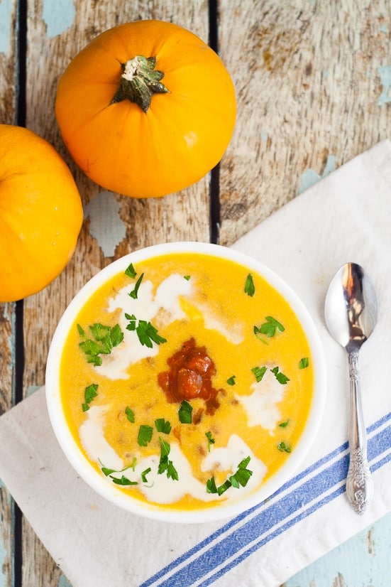 Savory Spicy Southwest Pumpkin Soup Recipe - Just in time for pumpkin season, this Spicy Southwest Pumpkin Soup recipe is a delicious savory alternative to traditional pumpkin spice that is a quick, easy and healthy pumpkin soup recipe. Pumpkin! This looks fabulous! And soooo easy!