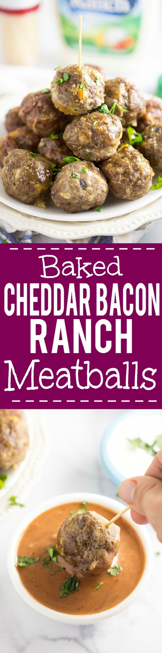 Baked Cheddar Bacon Ranch Meatballs Recipe -These tangy, zesty Baked Cheddar Bacon Ranch Meatballs have a to-die-for flavor combo and are baked in the oven for a delicious, quick and easy appetizer recipe.