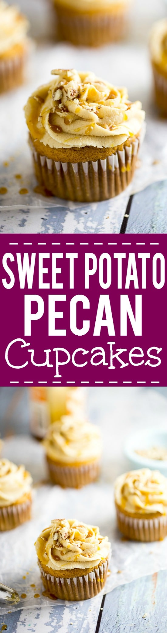 Sweet Potato Pecan Cupcakes Recipe with Caramel Frosting - Rich and moist Sweet Potato Pecan Cupcakes are topped with a sweet caramel frosting. These festive cupcakes have all your favorite Fall flavors and would be a delicious non-pie addition to your Thanksgiving dessert table.
