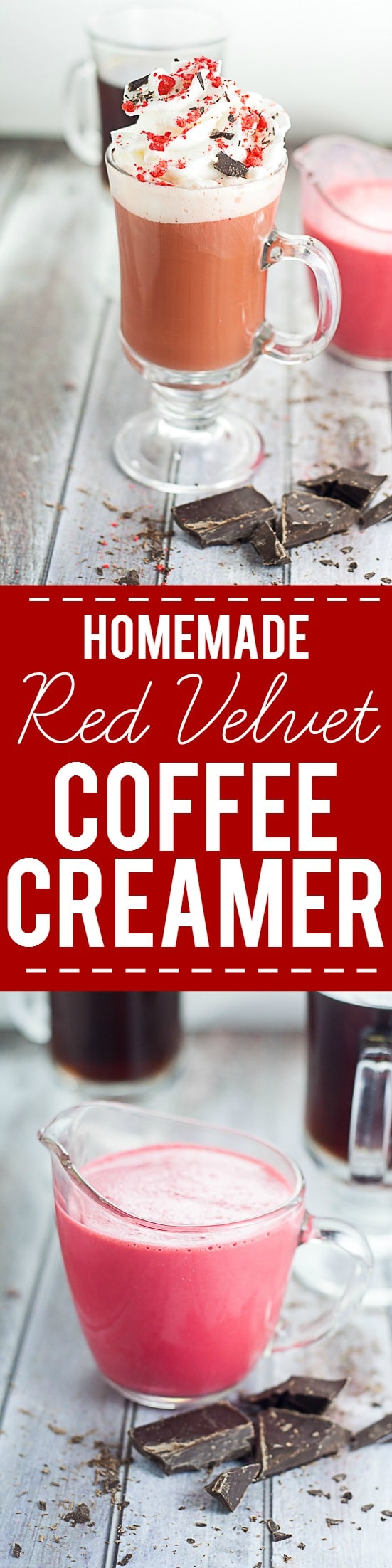 Homemade Red Velvet Coffee Creamer Recipe -Have your cake and drink it too with this delightful and decadent homemade Red Velvet Coffee Creamer recipe. Like cake in a cup!