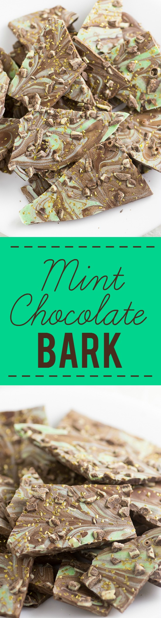 Mint Chocolate Bark Recipe -Easy Mint Chocolate Bark recipe with smooth, rich chocolate swirled with mint flavored white chocolate makes a quick, easy, and decadent dessert. YES! Love mint chocolate. This would be perfect for Christmas or St Patrick's Day.