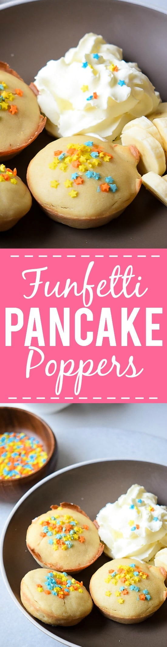 Funfetti Pancake Poppers recipe - These fun Funfetti Pancakes Poppers are a super easy breakfast recipe that the kids will love.  Perfect for even week day mornings or on the go! Yummy and easy breakfast recipe perfect for kids!