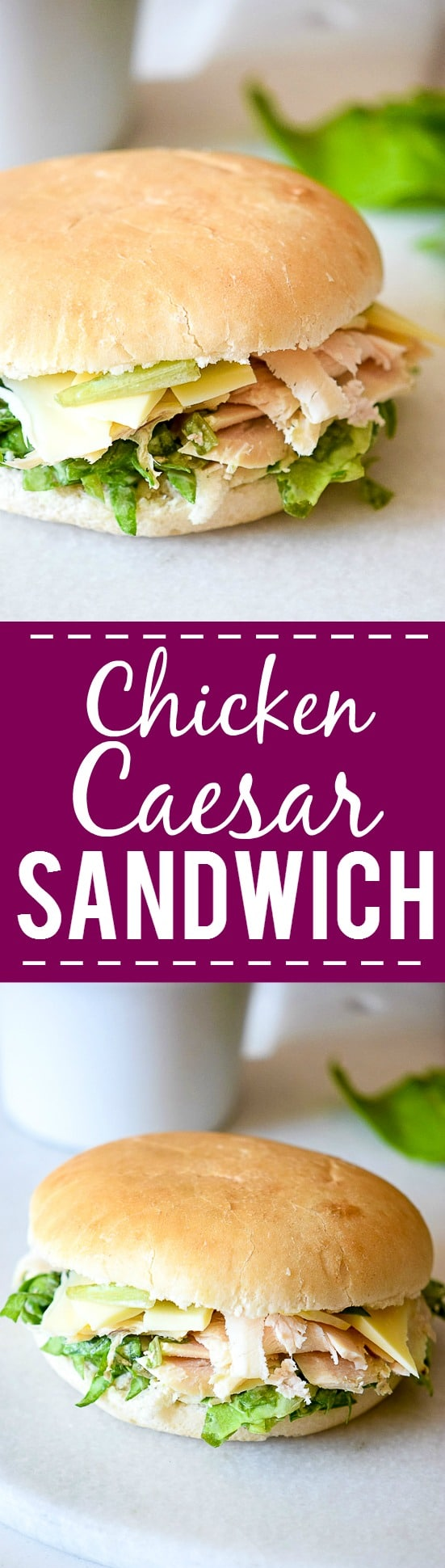 Caesar Salad Sandwiches recipe -Fresh, creamy, and flavorful, these Caesar Salad Sandwiches are a delightful and healthy option for lunch with fresh greens, Parmesan, and chicken. Great for an easy and healthy lunch or an easy dinner recipe without the oven for Summer!