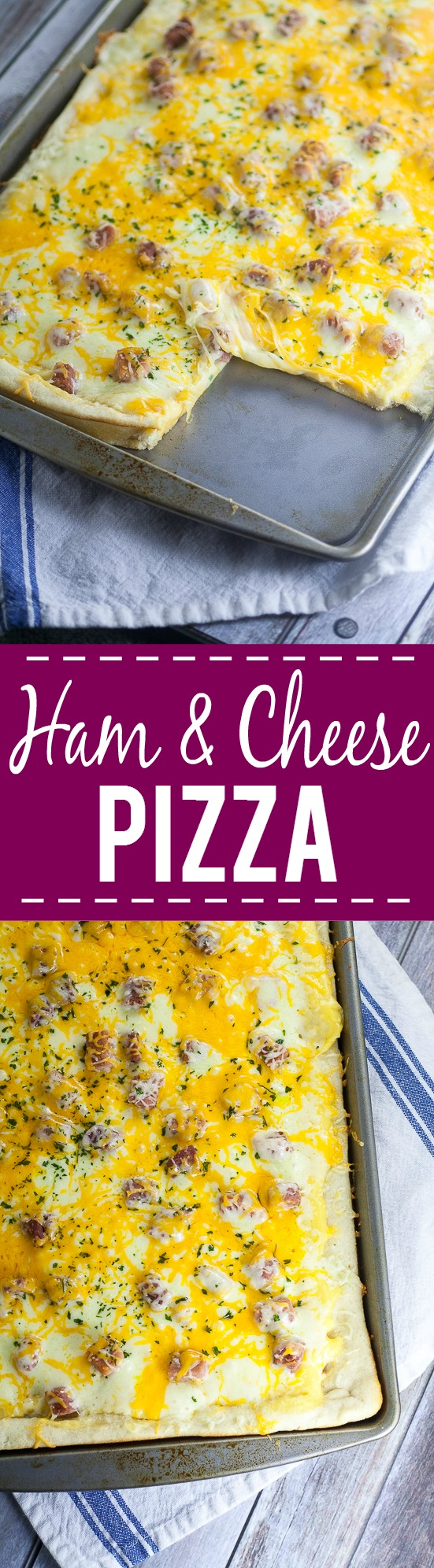 Ham and Cheese Pizza Recipe - Ham and cheese is a classic combination that everyone loves, especially in this creamy, cheesy Ham and Cheese Pizza recipe that makes a yummy and easy family dinner! Make this quick and easy dinner recipe in less than 30 minutes!