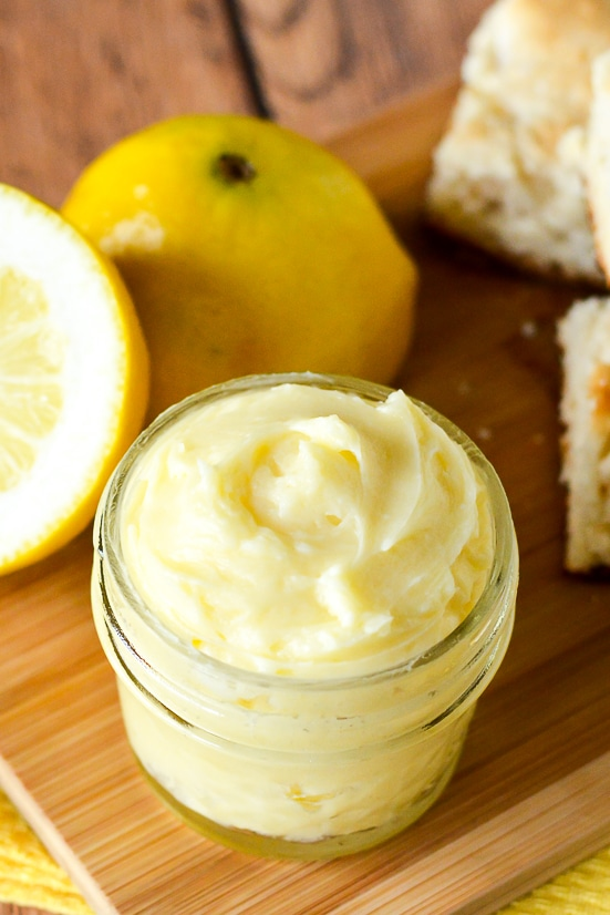 Lemon Butter Recipe - Sweet and tangy Lemon Butter goes perfectly on your favorite roll, biscuit, or scone for a refreshing and yummy treat. Make it in just 10 minutes with 5 ingredients! Easy compound butter recipe makes a great DIY gift idea too!!