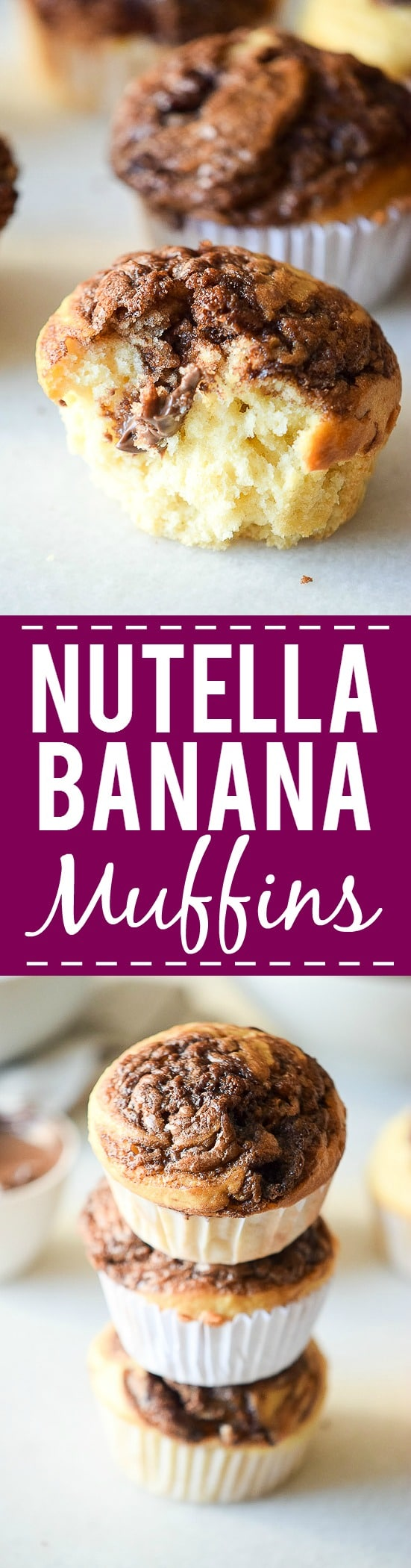 Nutella Banana Muffins Recipe -Decadent chocolate and creamy sweet bananas make a heavenly combination that's perfect, even for breakfast in this Nutella Banana Muffins recipe! Great breakfast idea for kids and freezer friendly too.