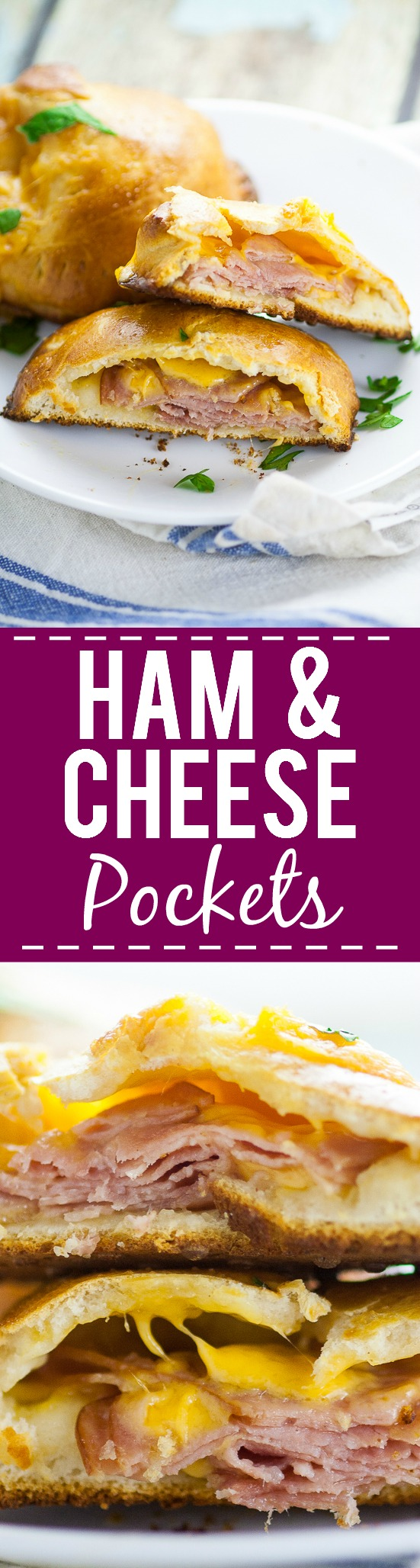 Ham and Cheese Pockets Recipe -For a quick and easy, on-the-go meal make these yummy, cheesy Ham and Cheese Pockets with just 5 ingredients in 30 minutes or less! They're freezer friendly too!