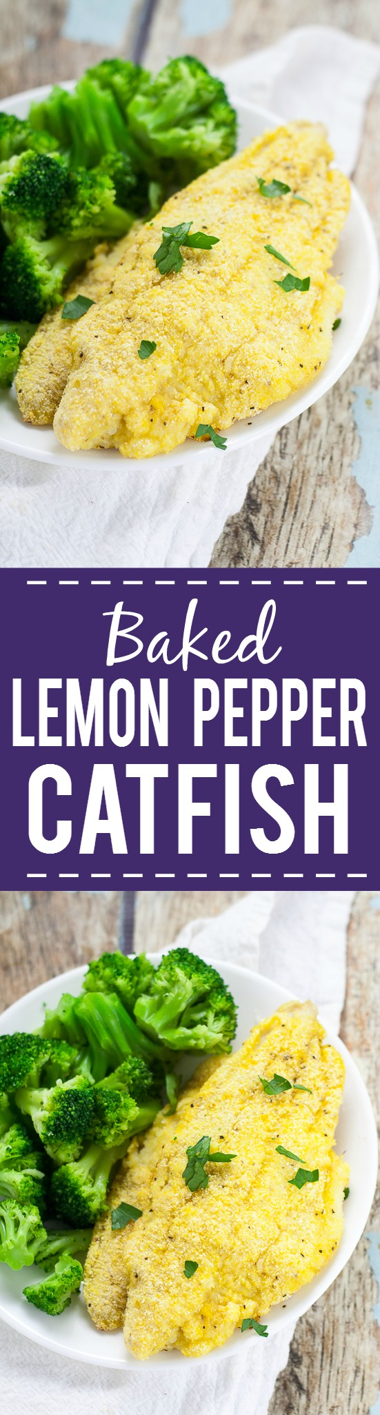 Lemon Pepper Baked Catfish Recipe -Crisp, zesty and baked right in the oven, this Lemon Pepper Baked Catfish recipe can be made in just 30 minutes with 5 ingredients! Quick and easy dinner recipe. Healthy too!