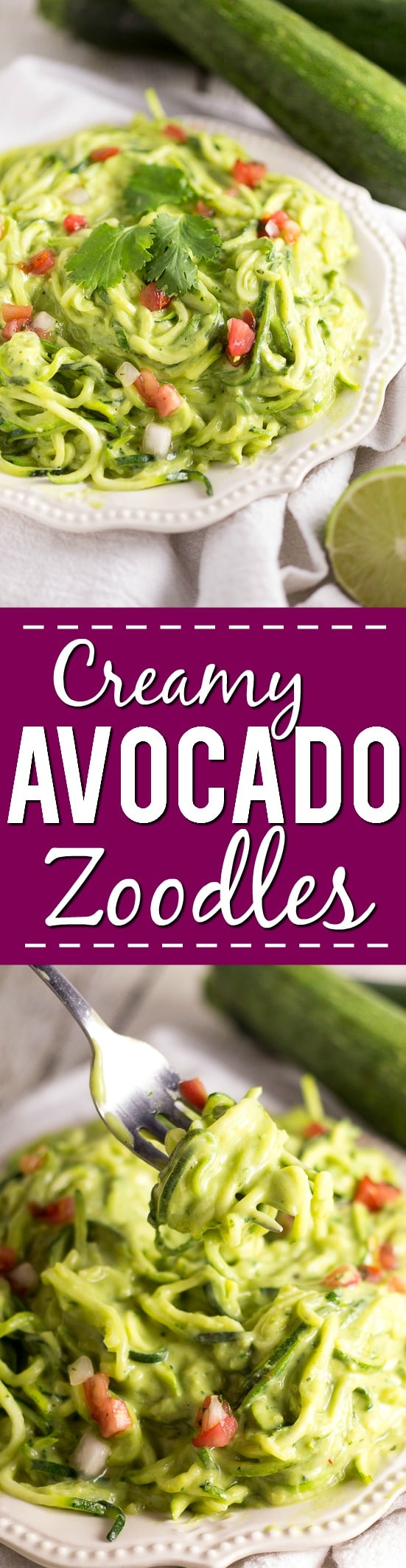 Creamy Avocado Zoodles Recipe -A fresh zucchini noodles recipe that takes less than 20 minutes to make, these Creamy Avocado Zoodles with creamy, fresh and a little zesty sauce are perfect for a simple Summer meal!