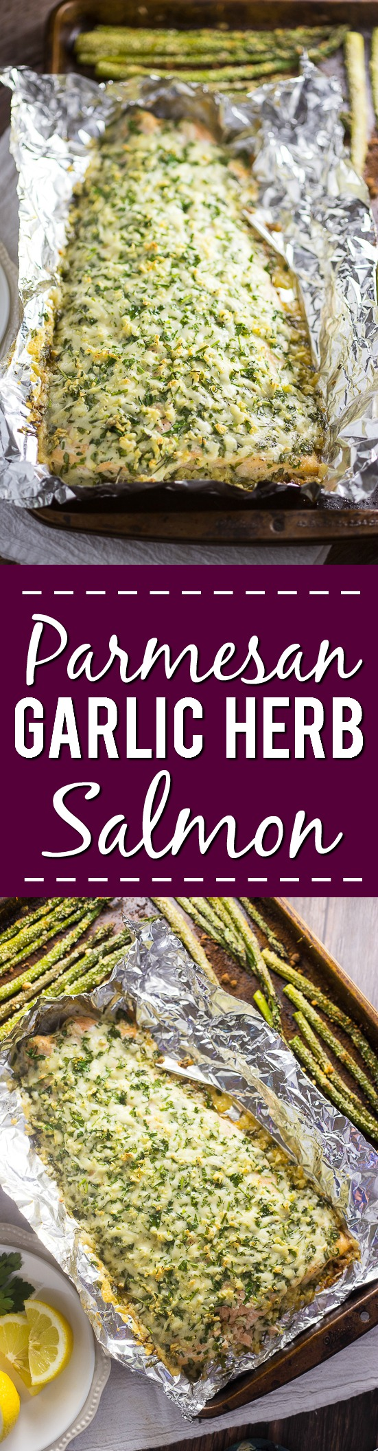 Parmesan Garlic Herb Salmon Recipe - Quick and easy family dinner recipe, but also cheesy and zesty Parmesan Garlic Herb Salmon recipe uses to simple ingredients to make a delicious flavorful meal in just 30 minutes! Perfect easy fish dinner!